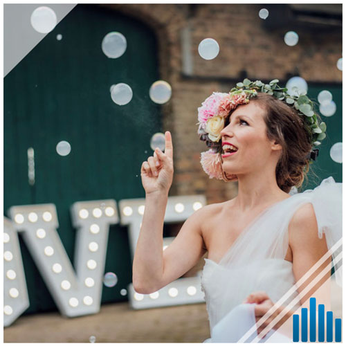 Seifenblasen mit Nebel Hochzeit